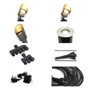 66713B2E 8B25 4AF7 B094 0FC83959EAF2 300x300 - Plug and Play - Medium kit with selection of 2w / 4w brass spike spots and recessed lights
