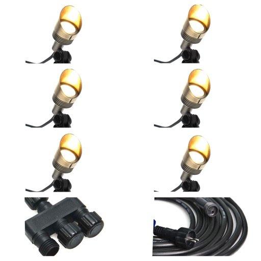 8C0D134D 6698 472B AE2B 2400AAB2EC22 - Plug and Play - 4w Brass Garden LED Spike Spot Light - 6 Lights (400 lumens each)